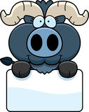 Cartoon Little Blue Ox Sign Royalty Free Stock Images
