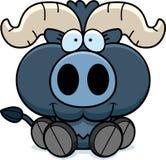 Cartoon Little Blue Ox Sitting vector illustration