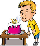 Cartoon little boy blowing out candles Royalty Free Stock Photo