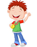 Cartoon Little boy celebrates his golden medal Royalty Free Stock Image