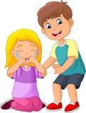 Cartoon little boy comforting a crying girl. Illustration of Cartoon little boy comforting a crying girl stock illustration