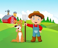 Cartoon little boy and dog in the farm Stock Photo