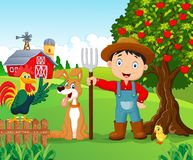 Cartoon little boy and dog in the farm Stock Image