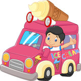 Cartoon little boy driving car and waving Stock Images