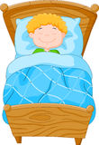 Cartoon little boy fell asleep Royalty Free Stock Images