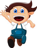 Cartoon little boy gesturing on white background Stock Photos