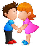 Cartoon little boy and girl kissing Stock Photo