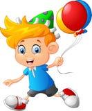 Cartoon little boy holding balloon Royalty Free Stock Image