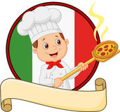Cartoon of the little boy holding the tool with bread bakery peel Stock Photography