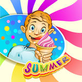 Cartoon little boy with ice cream Stock Photography