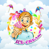 Cartoon little boy with ice cream Stock Photo