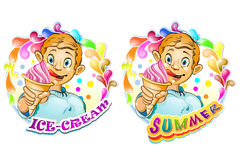 Cartoon little boy with ice cream Stock Image