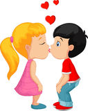Cartoon little boy kissing a girl Stock Photos