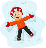 Cartoon little boy lying on the snow Royalty Free Stock Photography