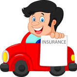 Cartoon little boy notify to join insurance Royalty Free Stock Photography