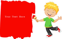 Cartoon little boy painting the wall with red color Stock Photos