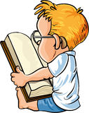 Cartoon little boy reading a big book Stock Images