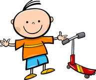 Cartoon little boy with scooter Royalty Free Stock Photo