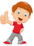 Cartoon a little boy smiling and likes it Stock Image