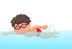 Cartoon little boy swimmer in the swimming pool Royalty Free Stock Image