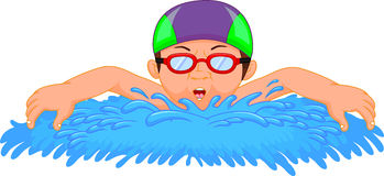 Cartoon little boy swimmer Stock Image