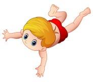 Cartoon little boy swimming on a white background. Illustration of Cartoon little boy swimming on a white background Stock Photography