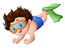 Cartoon little boy swimming on a white background Royalty Free Stock Photo