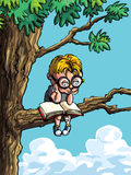 Cartoon of little boy in a tree. He is reading a book Royalty Free Stock Photography