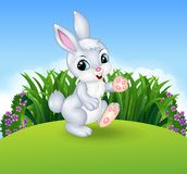Cartoon little bunny walking in the jungle Stock Images