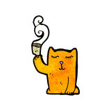 cartoon little cat with tea cup Stock Photo