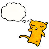 Cartoon little cat with thought bubble Royalty Free Stock Photos