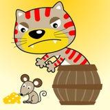 Funny rat hunter cartoon royalty free illustration