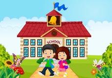 Cartoon little children leaving school Stock Images