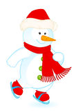 Cartoon little cute snowman Stock Image