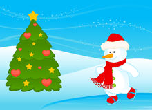 Cartoon little cute snowman Stock Photography