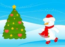 Cartoon little cute snowman. Illustration for a design royalty free illustration