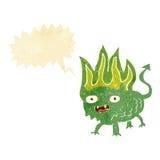 Cartoon little demon with speech bubble Stock Photos