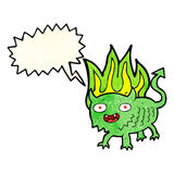 Cartoon little demon with speech bubble Royalty Free Stock Photography
