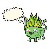 Cartoon little demon with speech bubble Royalty Free Stock Image