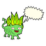 Cartoon little demon with speech bubble Stock Photography