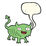 Cartoon little demon with speech bubble Stock Image