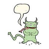 Cartoon little demon with speech bubble Royalty Free Stock Image