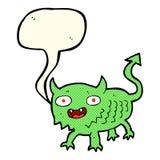 Cartoon little demon with speech bubble Stock Images