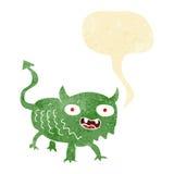 Cartoon little demon with speech bubble Royalty Free Stock Photos