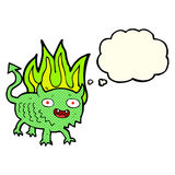 Cartoon little demon with thought bubble Royalty Free Stock Images