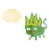 Cartoon little demon with thought bubble Royalty Free Stock Image