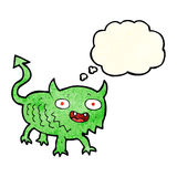 Cartoon little demon with thought bubble Stock Photography