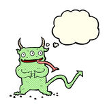 Cartoon little demon with thought bubble Stock Images