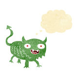 Cartoon little demon with thought bubble Stock Photo