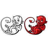 Cartoon little devil or Imp - vector illustration Royalty Free Stock Photo